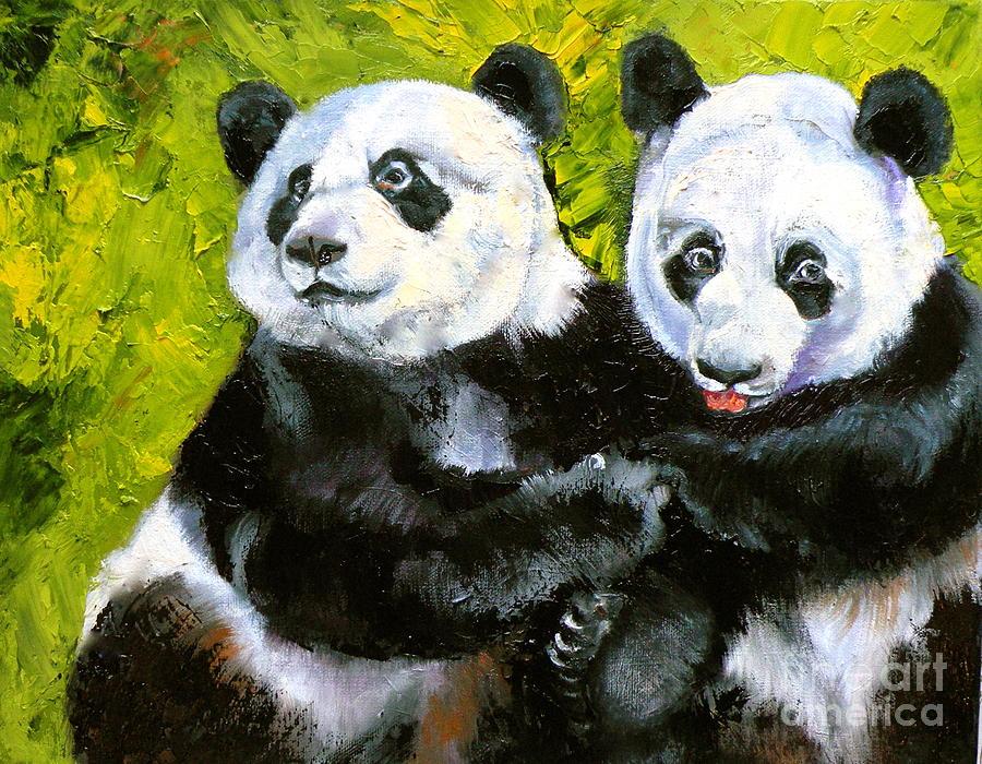 Panda Painting - Panda Date by Susan A Becker