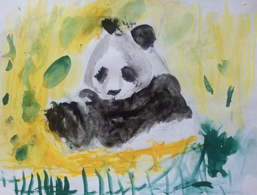 Panda Painting - Panda  by Fernanda Machuca