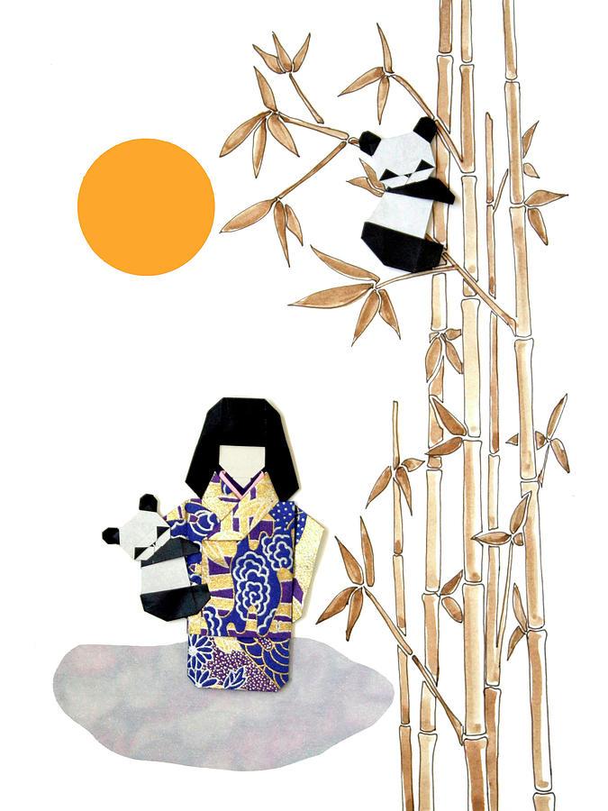 Pandas Mixed Media - Panda Girl By Mary Ellen Palmeri by Lyric Artists