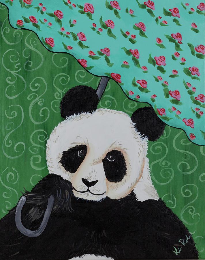 Panda Painting - Panda In The Rain by Kimberly Robinson