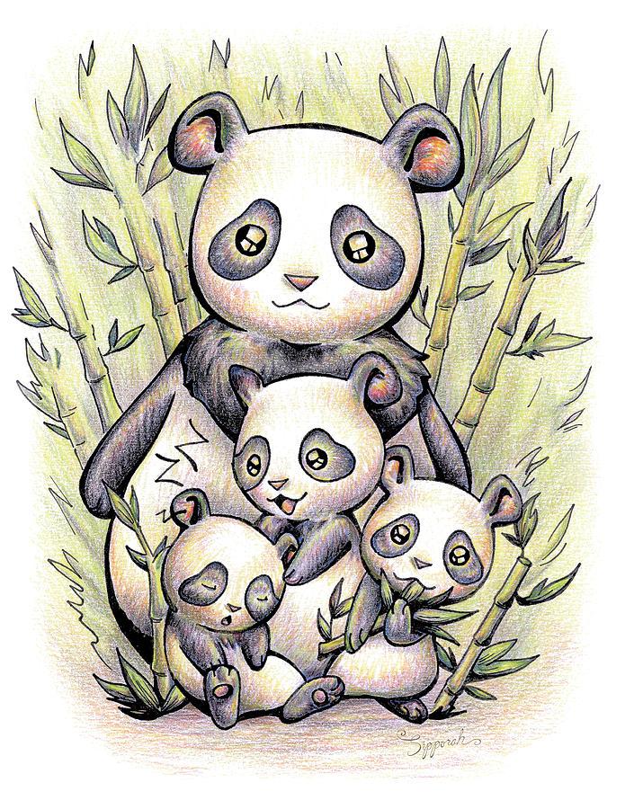 Endangered Animal Drawing - Endangered Animal Giant Panda by Sipporah Art and Illustration