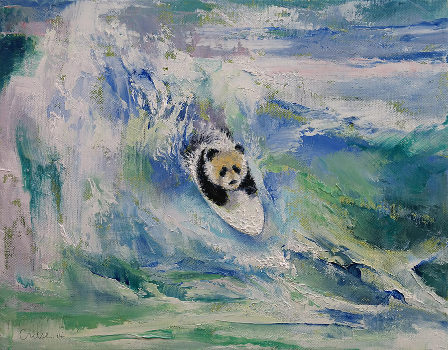Panda Surfer Painting By Michael Creese
