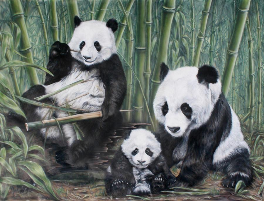 Panda Painting - Pandas by Alexey Kurkin