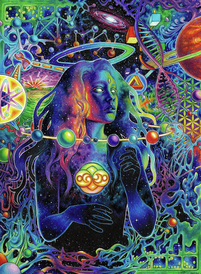 Psychedelic Drawing - Pandora by Callie Fink