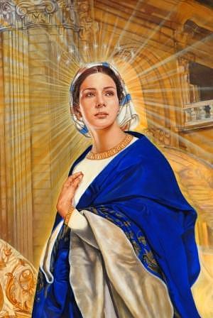 Panel  Salve Regina Detail Painting by Oscar Casares