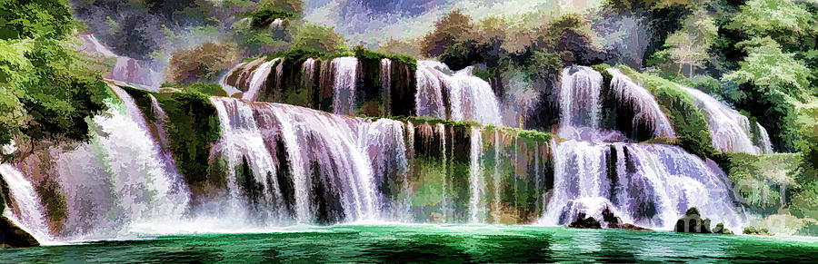 Waterfall Photograph - Panorama Ban Gioc Fall Vietnam  by Chuck Kuhn