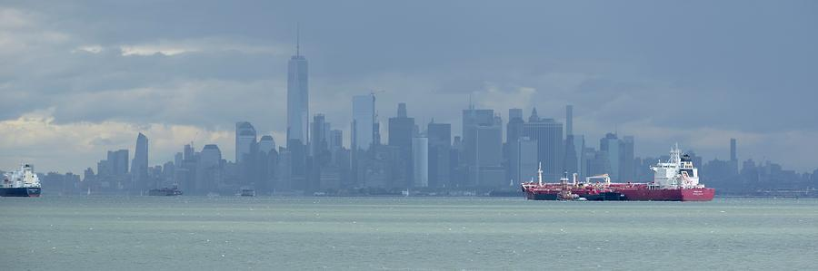 Skyline New York Photograph - Panorama Dark Clouds Over New York City by Merijn Van der Vliet