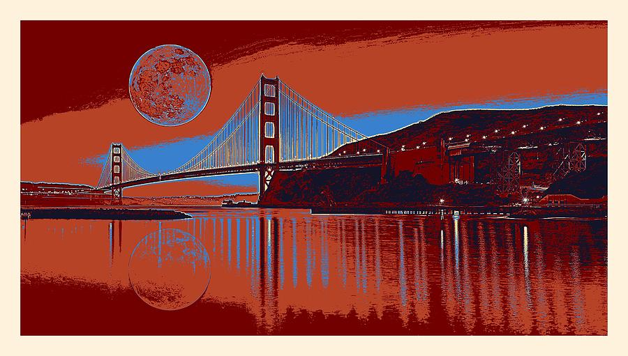 Nature Painting - Panorama Golden Gate Bridge Landmark 2 by Celestial Images