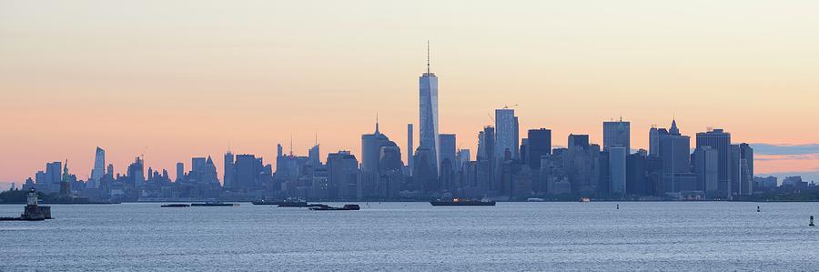 Skyline New York Photograph - Panorama New York City Skyline At Sunrise by Merijn Van der Vliet