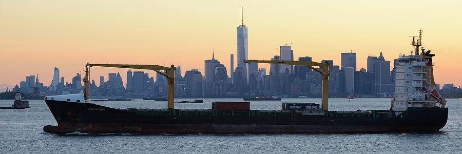 Skyline New York Photograph - Panorama New York City Skyline With Passing Container Ship by Merijn Van der Vliet