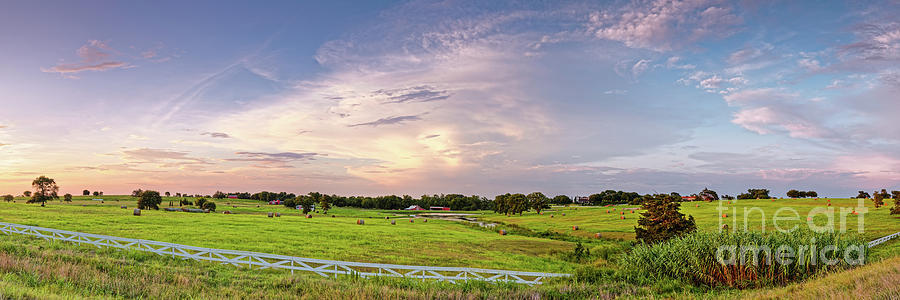 Chappell Hill Photograph - Panorama Of Bales Of Hay In A Field - Chappell Hill Texas by Silvio Ligutti