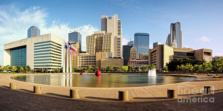 Downtown Photograph - Panorama Of Downtown Dallas Skyline From City Hall - North Texas by Silvio Ligutti