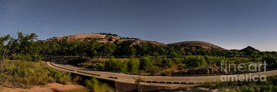 Enchanted Rock Photograph - Panorama Of Enchanted Rock At Night - Starry Night Texas Hill Country Fredericksburg Llano by Silvio Ligutti