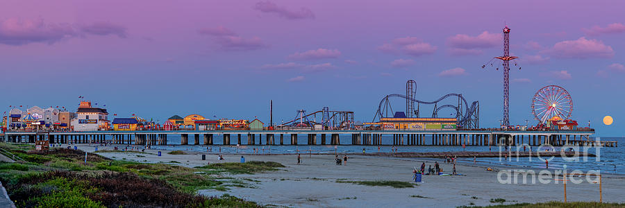 Galveston Photograph - Panorama Of Historic Pleasure Pier With Full Moon Rising In Galveston Island - Texas Gulf Coast by Silvio Ligutti