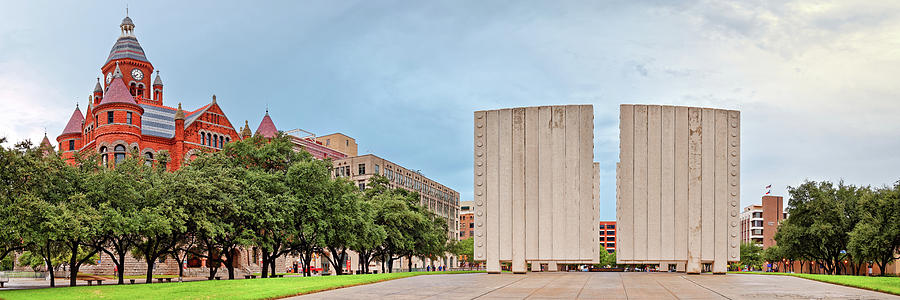 Dallas Photograph - Panorama Of Old Red Museum And Jfk Memorial In Downtown Dallas - West End Historic District - Texas by Silvio Ligutti