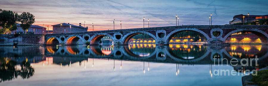 Pont Neuf Photograph - Panorama Of Pont Neuf In Toulouse by Elena Elisseeva