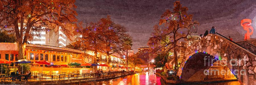 San Photograph - Panorama Of The San Antonio Riverwalk During Christmas - San Antonio Bexar County Texas by Silvio Ligutti