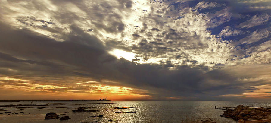 Panorama of the sunset in Caesarea by Adriana Zoon