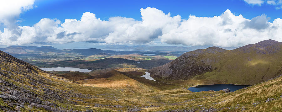 Panorama of valleys and mountains in County Kerry on a summer da by Semmick Photo