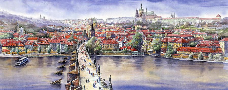 Watercolour Painting - Panorama with Vltava river Charles Bridge and Prague Castle St Vit by Yuriy Shevchuk