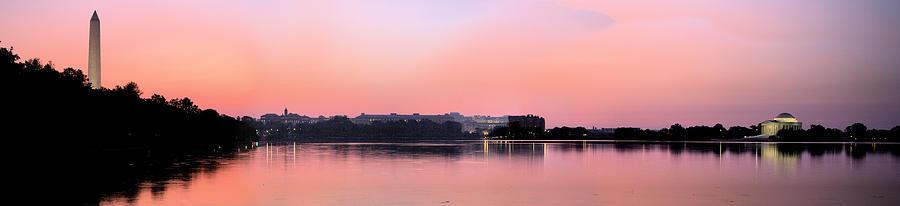 Washington Dc Jefferson Memorial Dawn Panoramic Panorama Pink Sunset Sunrise Pano Skyline Sky Line Photograph - Panoramic Dawn by JC Findley