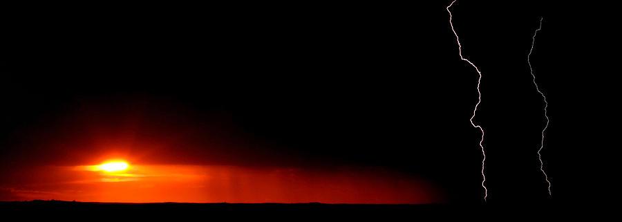 Lightning Digital Art - Panoramic Lightning Storm And Sunset by Mark Duffy