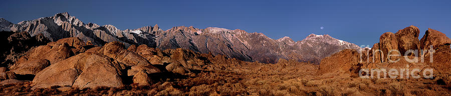Dave Welling Photograph - Panoramic Moon Set Alabama Hills Eastern Sierras California by Dave Welling