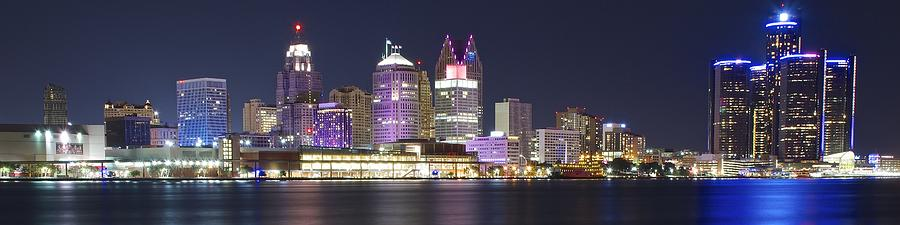 Panoramic Night In Detroit Photograph