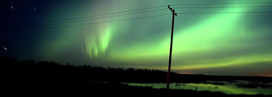 Nature Digital Art - Panoramic Prairie Northern Lights by Mark Duffy