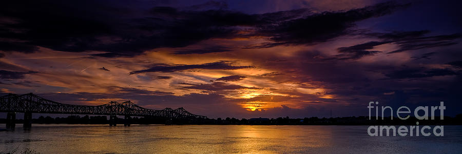Panoramic Sunset at Natchez by T Lowry Wilson