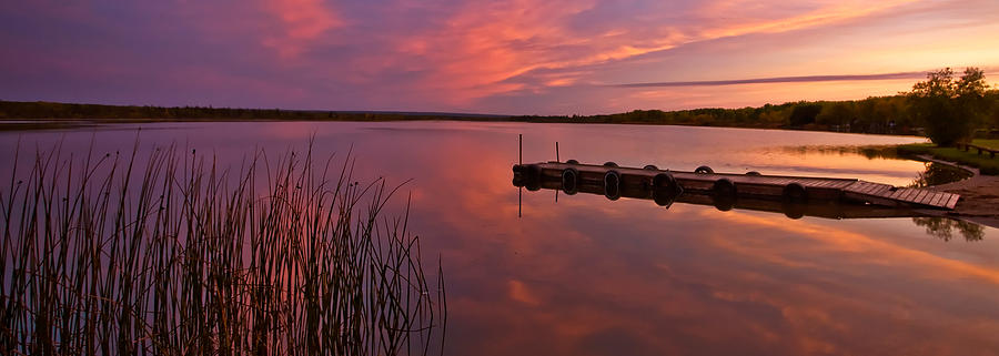 Digital Art - Panoramic Sunset Northern Lake by Mark Duffy