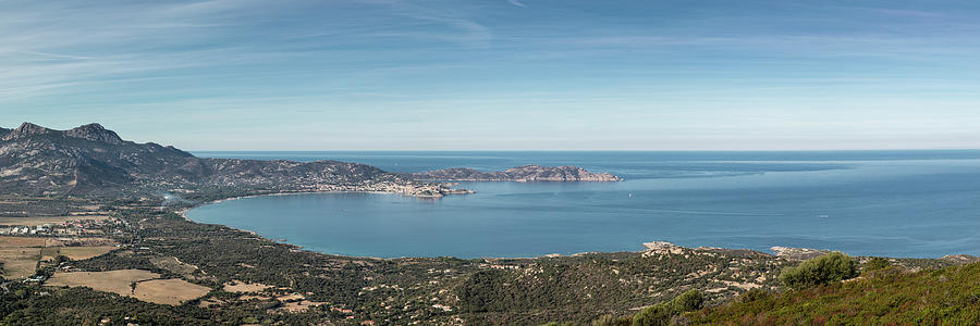 Ancient Photograph - Panoramic View Across Calvi Bay And Revellata In Corsica by Jon Ingall