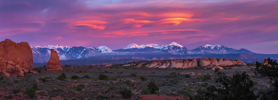 Panoramic View of a magnificent Sunset in Arches National Park by Ami Parikh