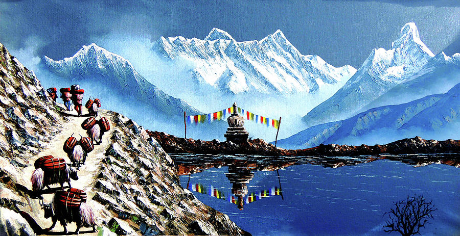 House Painting - Panoramic View Of Annapurna Mountain Nepal by Whimsy Art