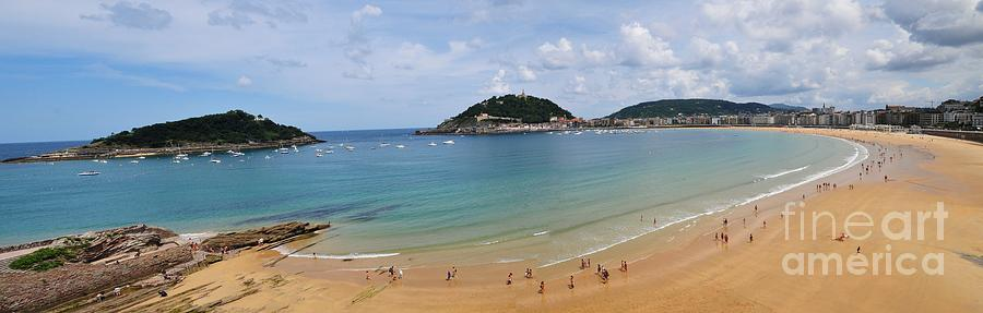 Outdoor Photograph - Panoramic View Of Beautiful Beach, San Sebastian, Spain  by Akshay Thaker PhotOvation