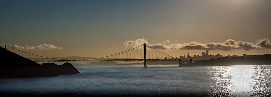 California Photograph - Panoramic View Of Downtown San Francisco Behind The Golden Gate  by PorqueNo Studios