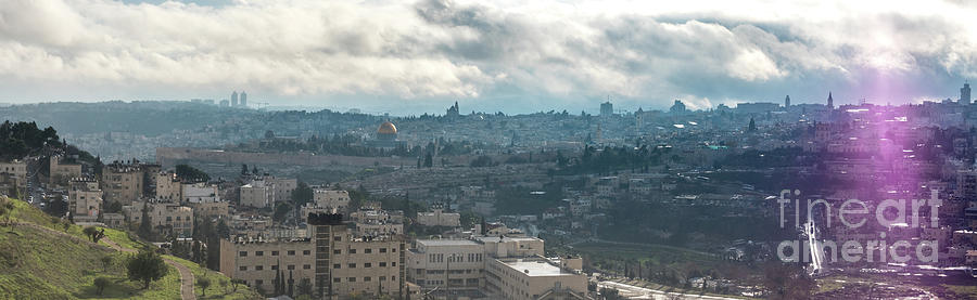 Church Photograph - Panoramic View Of Old Jerusalem City by PorqueNo Studios