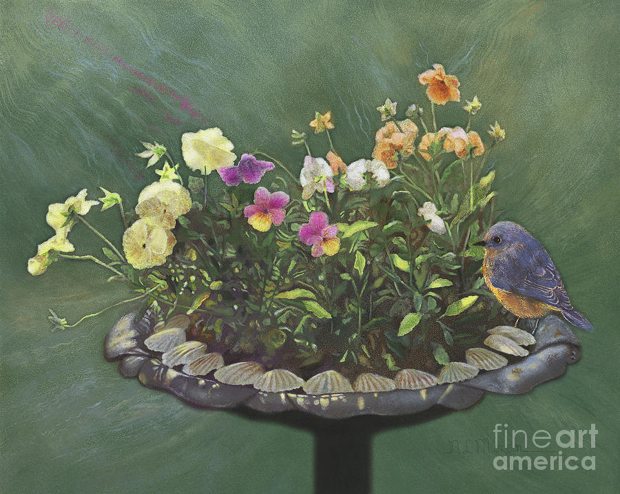 Bluebird Painting - Pansies And Bluebird by Nancy Lee Moran