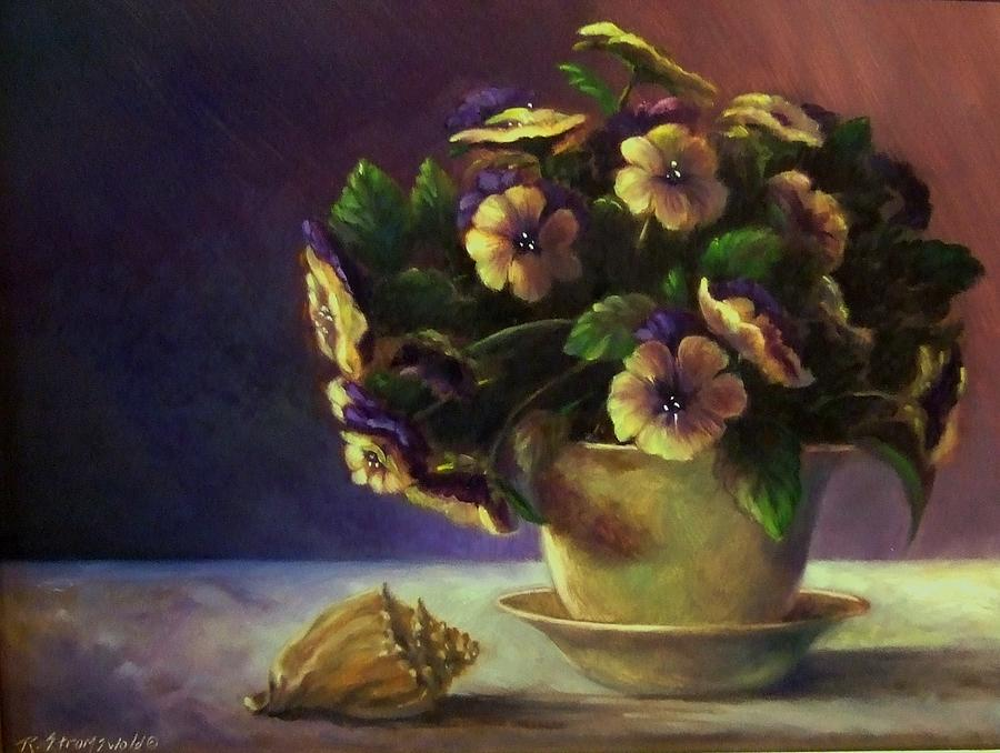 Shell Painting - Pansies And Celadon by Ruth Stromswold