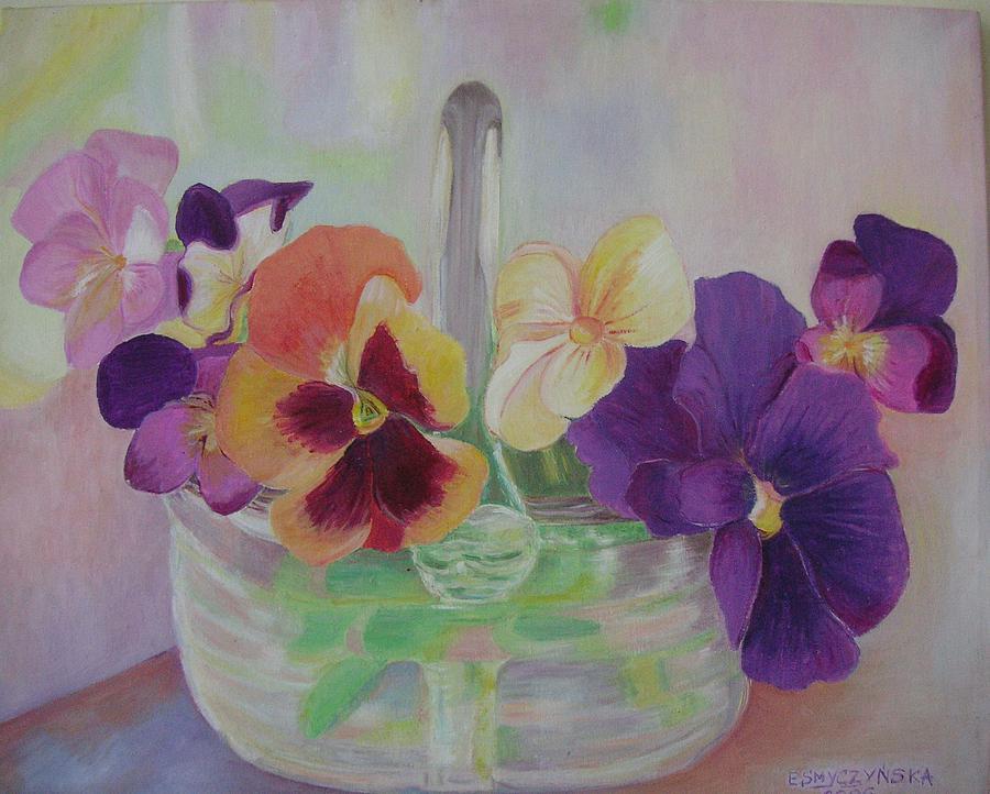 Pansies Painting by Ewa Smyczynska at Beyond Gallery Cafe of Kathlin Austin
