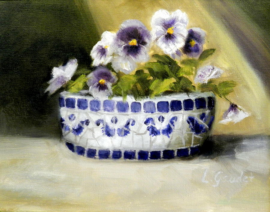 Still Life Painting - Pansies by Lenore Gaudet