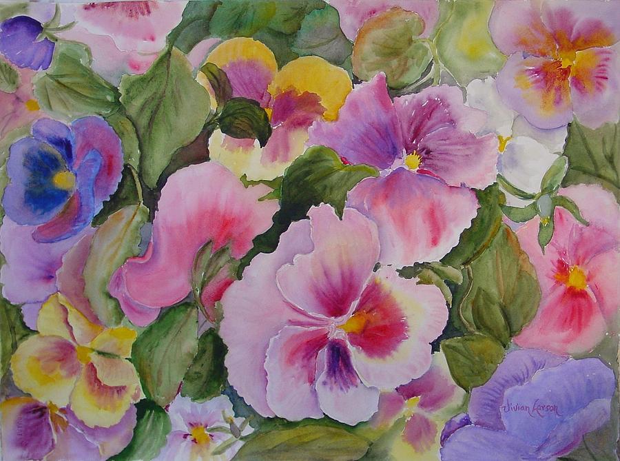 Pansies Painting - Pansies Too by Vivian Larson