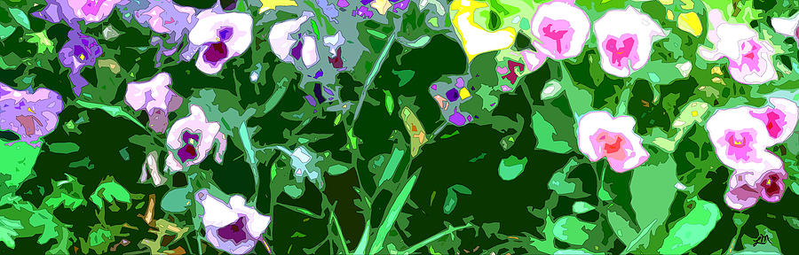 Abstract Digital Art - Pansy Flower Garden by Linda Mears