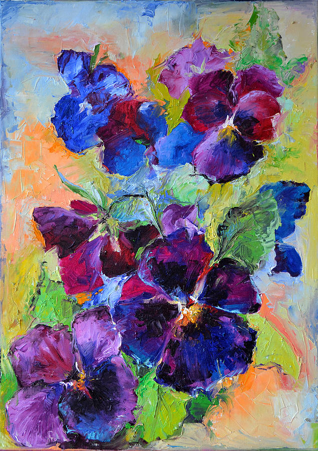 pansy flowers spring flowers oil painting painting by