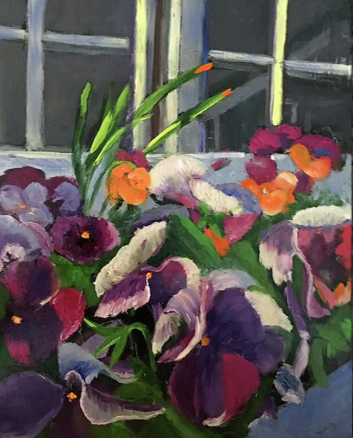 Pansies Painting - Pansy Frenzy by Lynne Atwood