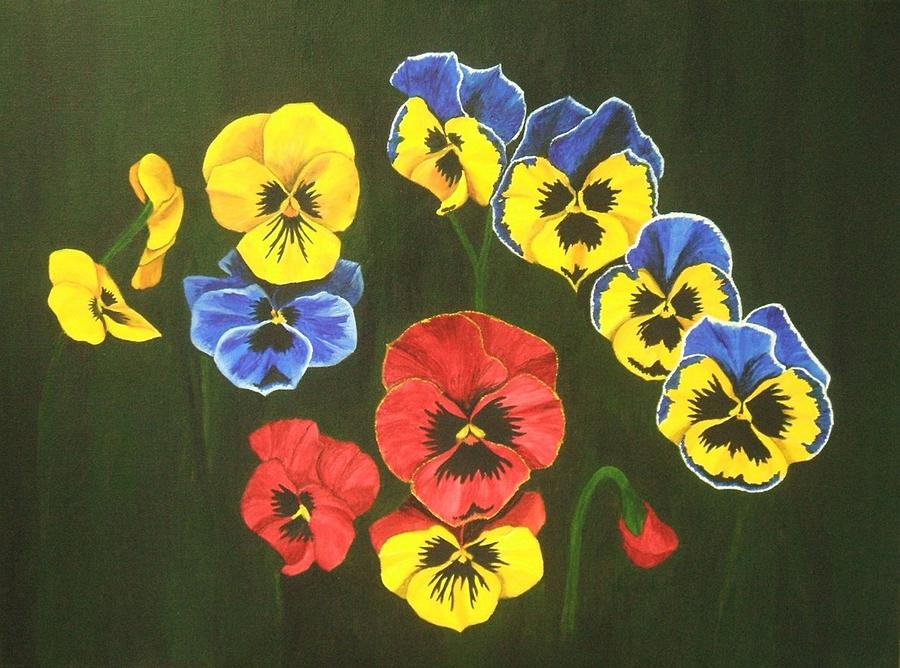 Flowers Painting - Pansy Lions Too by Brandy House
