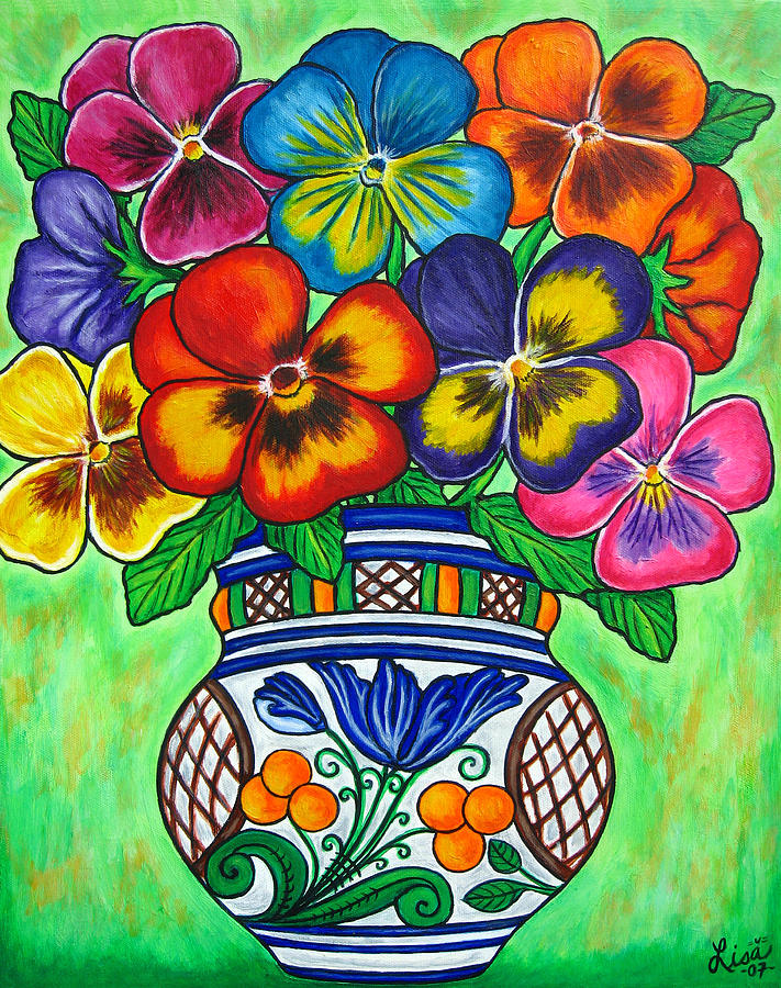Flower Painting - Pansy Parade by Lisa  Lorenz
