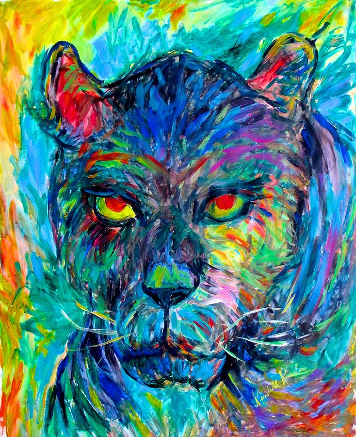 For Sale Painting - Panther Stare Stage One by Kendall Kessler