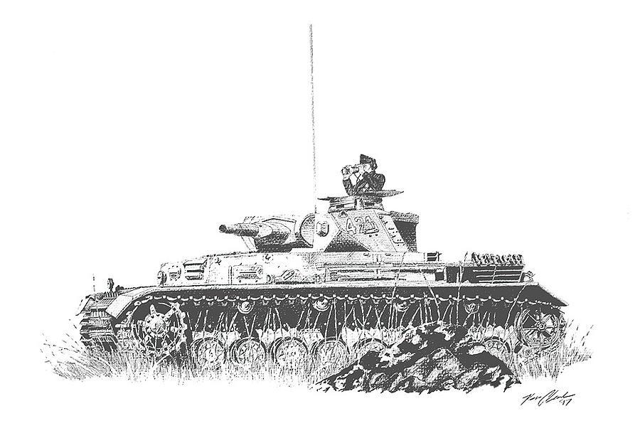 Vehicles Drawing - Panzer Mk. Iv by Ken Clark