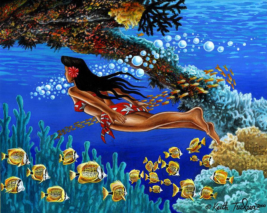Tiki Painting - Papaku Means Bottom Of The Ocean In Hawaiian by Keith Tucker